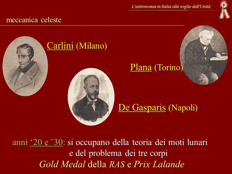L'astronomia in Italia alle soglie dell'Unità meccanica celeste Plana (Torino) Carlini (Milano) anni 20 e 30: si occupano della teoria dei moti lunari