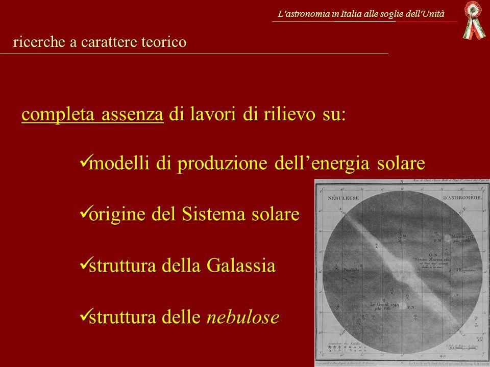 L'astronomia in Italia alle soglie dell'Unità completa assenza di lavori di rilievo su: ricerche a carattere teorico modelli di produzione dellenergia