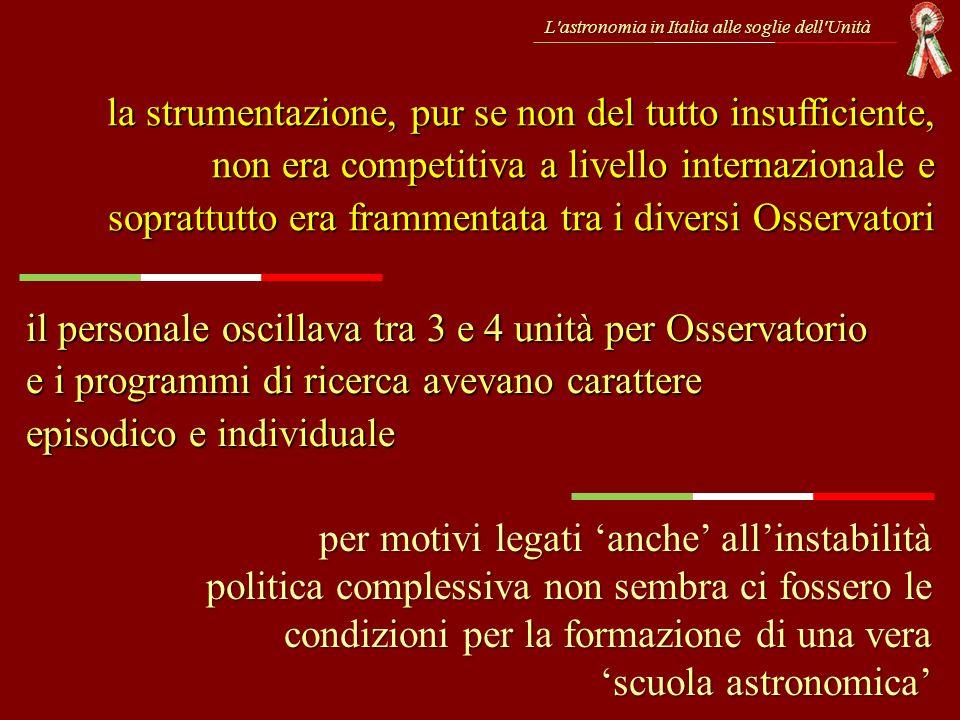 L'astronomia in Italia alle soglie dell'Unità la strumentazione, pur se non del tutto insufficiente, non era competitiva a livello internazionale e so