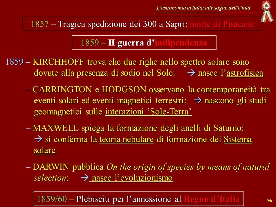 L astronomia in Italia alle soglie dell Unità … qual era lo stato delle ricerche condotte negli Osservatori italiani alle soglie dell Unità ?