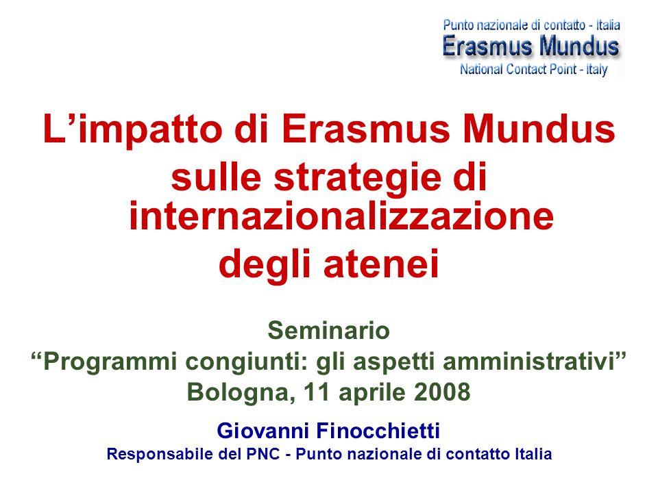Limpatto di Erasmus Mundus sulle strategie di internazionalizzazione degli atenei Seminario Programmi congiunti: gli aspetti amministrativi Bologna, 11 aprile 2008 Giovanni Finocchietti Responsabile del PNC - Punto nazionale di contatto Italia