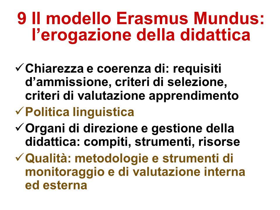 9 Il modello Erasmus Mundus: lerogazione della didattica Chiarezza e coerenza di: requisiti dammissione, criteri di selezione, criteri di valutazione apprendimento Politica linguistica Organi di direzione e gestione della didattica: compiti, strumenti, risorse Qualità: metodologie e strumenti di monitoraggio e di valutazione interna ed esterna