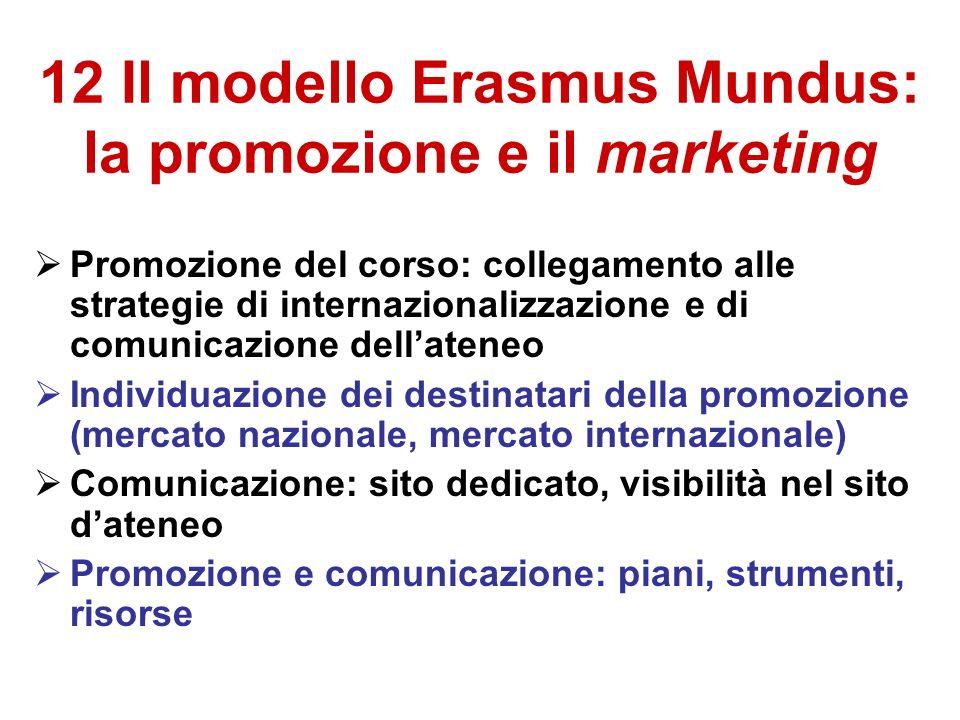 12 Il modello Erasmus Mundus: la promozione e il marketing Promozione del corso: collegamento alle strategie di internazionalizzazione e di comunicazione dellateneo Individuazione dei destinatari della promozione (mercato nazionale, mercato internazionale) Comunicazione: sito dedicato, visibilità nel sito dateneo Promozione e comunicazione: piani, strumenti, risorse