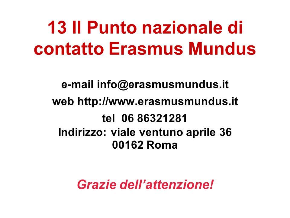 13 Il Punto nazionale di contatto Erasmus Mundus e-mail info@erasmusmundus.it web http://www.erasmusmundus.it tel 06 86321281 Indirizzo: viale ventuno aprile 36 00162 Roma Grazie dellattenzione!
