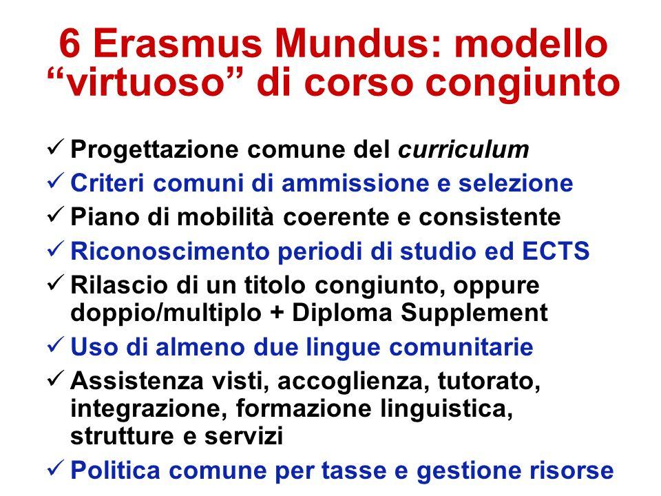 6 Erasmus Mundus: modello virtuoso di corso congiunto Progettazione comune del curriculum Criteri comuni di ammissione e selezione Piano di mobilità c