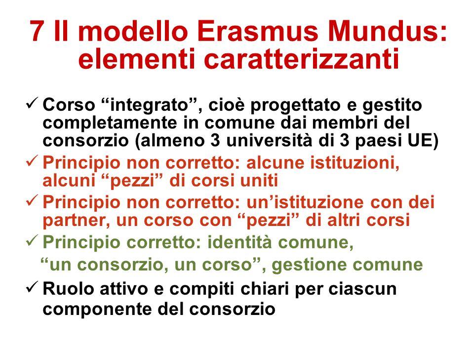 7 Il modello Erasmus Mundus: elementi caratterizzanti Corso integrato, cioè progettato e gestito completamente in comune dai membri del consorzio (almeno 3 università di 3 paesi UE) Principio non corretto: alcune istituzioni, alcuni pezzi di corsi uniti Principio non corretto: unistituzione con dei partner, un corso con pezzi di altri corsi Principio corretto: identità comune, un consorzio, un corso, gestione comune Ruolo attivo e compiti chiari per ciascun componente del consorzio