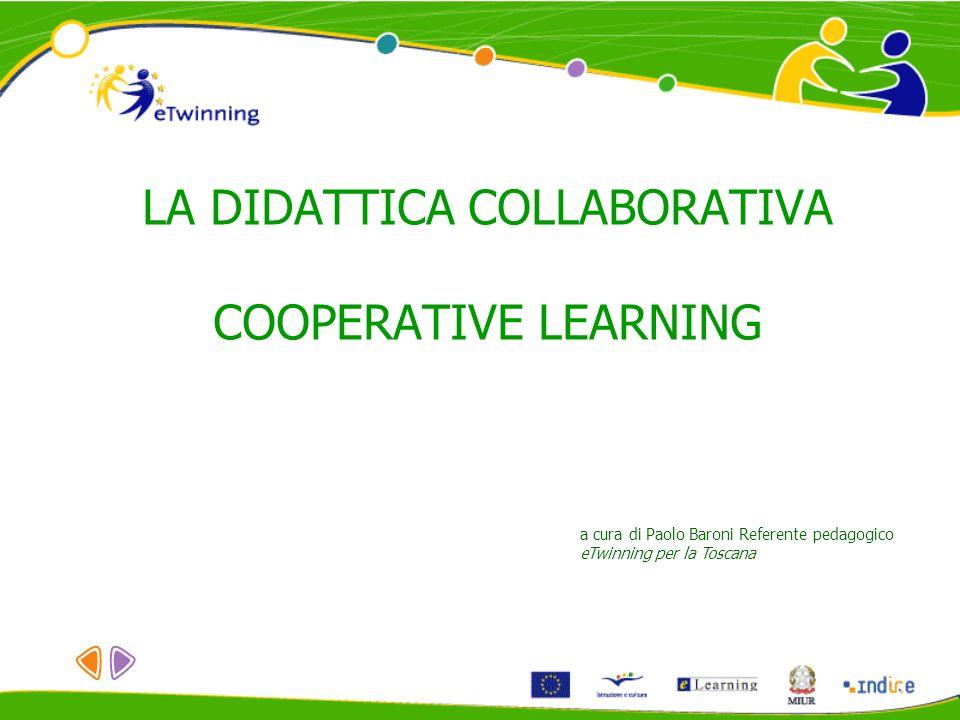 LA DIDATTICA COLLABORATIVA COOPERATIVE LEARNING a cura di Paolo Baroni Referente pedagogico eTwinning per la Toscana