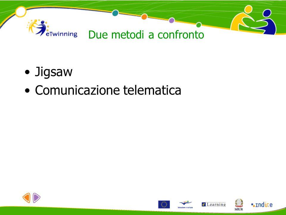Due metodi a confronto Jigsaw Comunicazione telematica