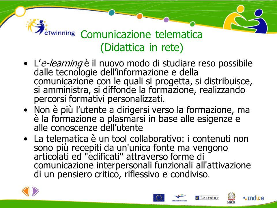 Comunicazione telematica (Didattica in rete) Le-learning è il nuovo modo di studiare reso possibile dalle tecnologie dellinformazione e della comunica