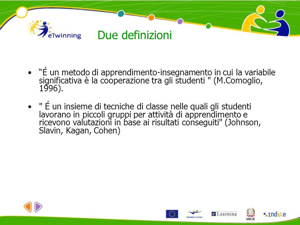 Due definizioni É un metodo di apprendimento-insegnamento in cui la variabile significativa è la cooperazione tra gli studenti
