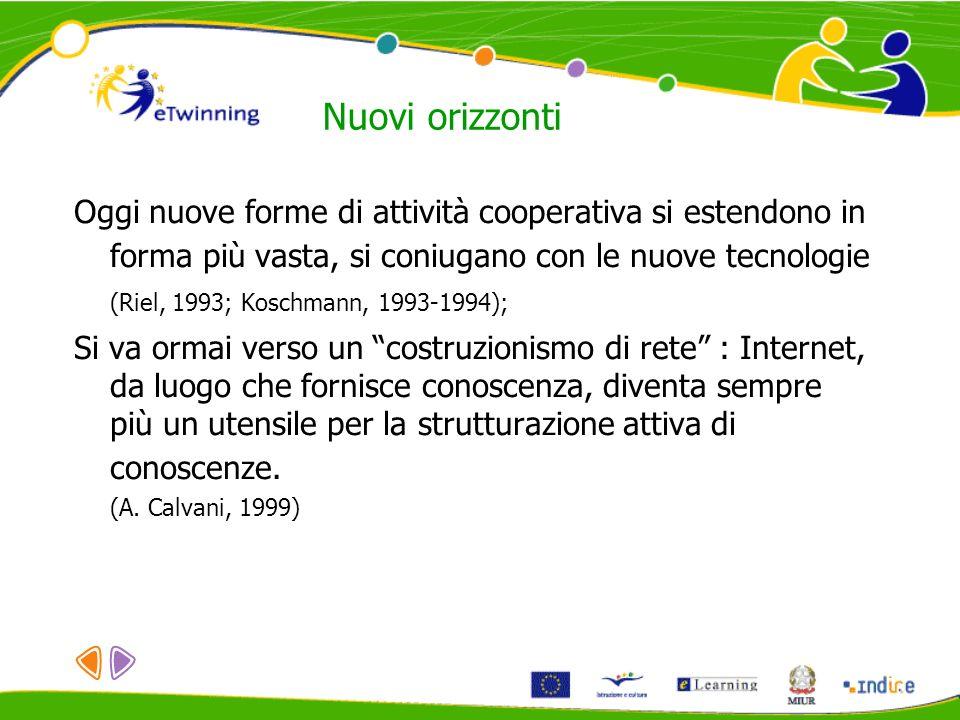 Nuovi orizzonti Oggi nuove forme di attività cooperativa si estendono in forma più vasta, si coniugano con le nuove tecnologie (Riel, 1993; Koschmann,