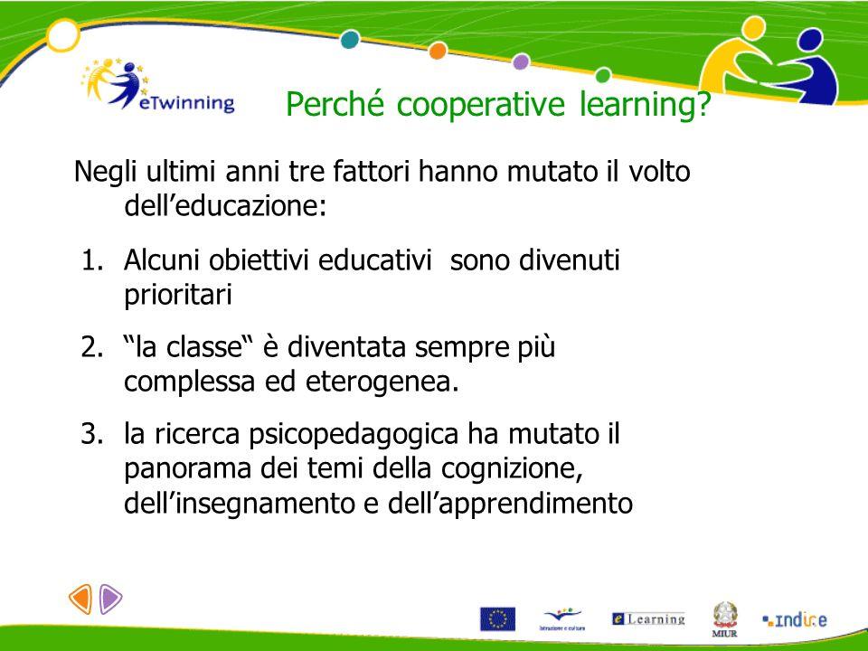 Perché cooperative learning? Negli ultimi anni tre fattori hanno mutato il volto delleducazione: 1.Alcuni obiettivi educativi sono divenuti prioritari