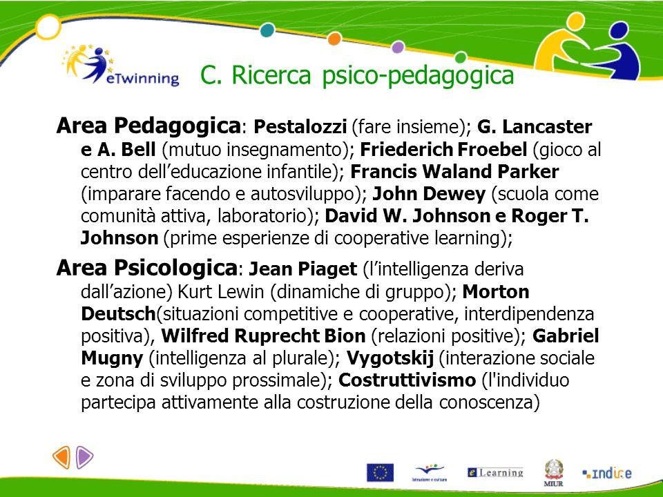 Area Pedagogica : Pestalozzi (fare insieme); G. Lancaster e A. Bell (mutuo insegnamento); Friederich Froebel (gioco al centro delleducazione infantile