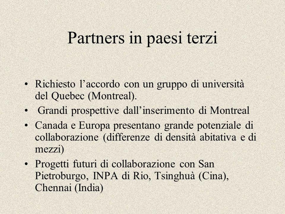 Partners in paesi terzi Richiesto laccordo con un gruppo di università del Quebec (Montreal). Grandi prospettive dallinserimento di Montreal Canada e