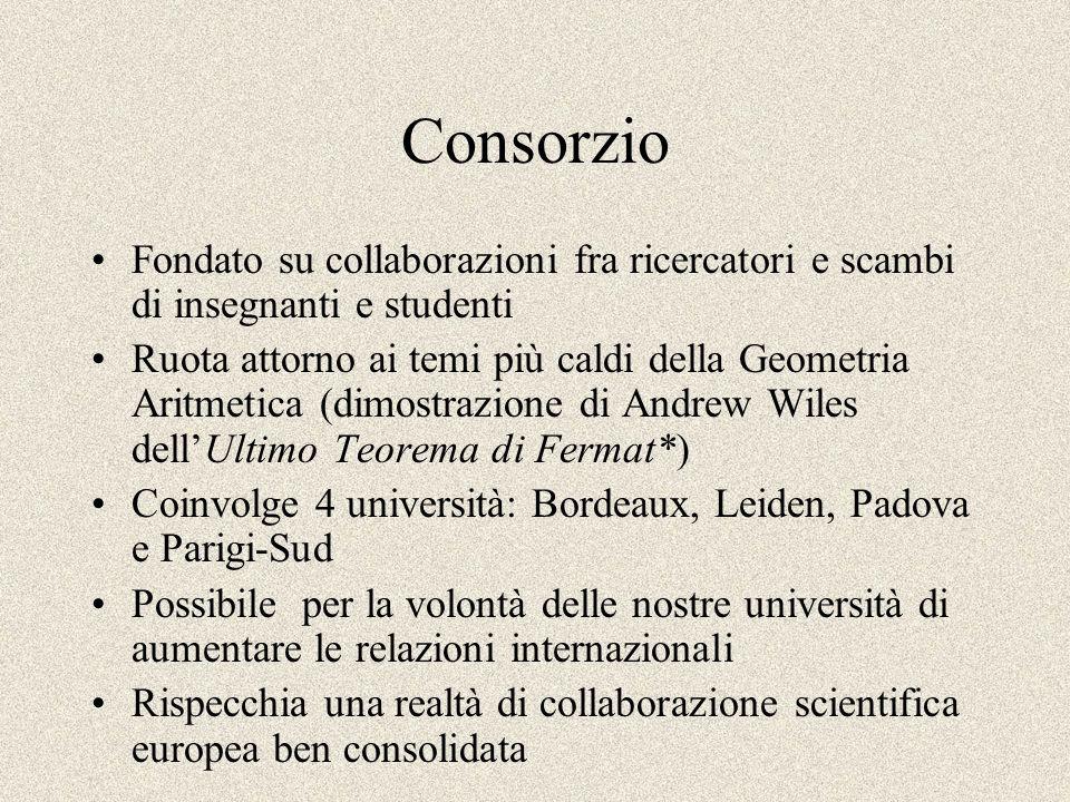 Consorzio Fondato su collaborazioni fra ricercatori e scambi di insegnanti e studenti Ruota attorno ai temi più caldi della Geometria Aritmetica (dimo