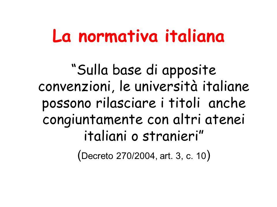 La normativa italiana I regolamenti didattici di ateneo, nel rispetto degli statuti, disciplinano altresì gli aspetti di organizzazione dellattività didattica comuni ai corsi di studio, con particolare riferimento: (…) o) alle modalità per il rilascio dei titoli congiunti (DM 270/2004, art.