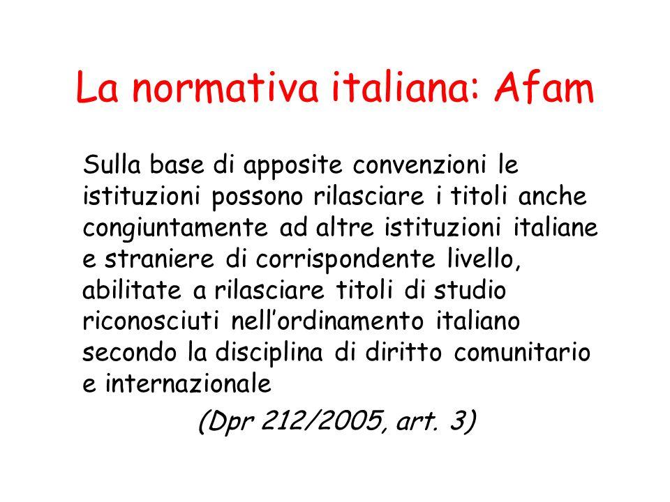 La normativa italiana: Afam Sulla base di apposite convenzioni le istituzioni possono rilasciare i titoli anche congiuntamente ad altre istituzioni it