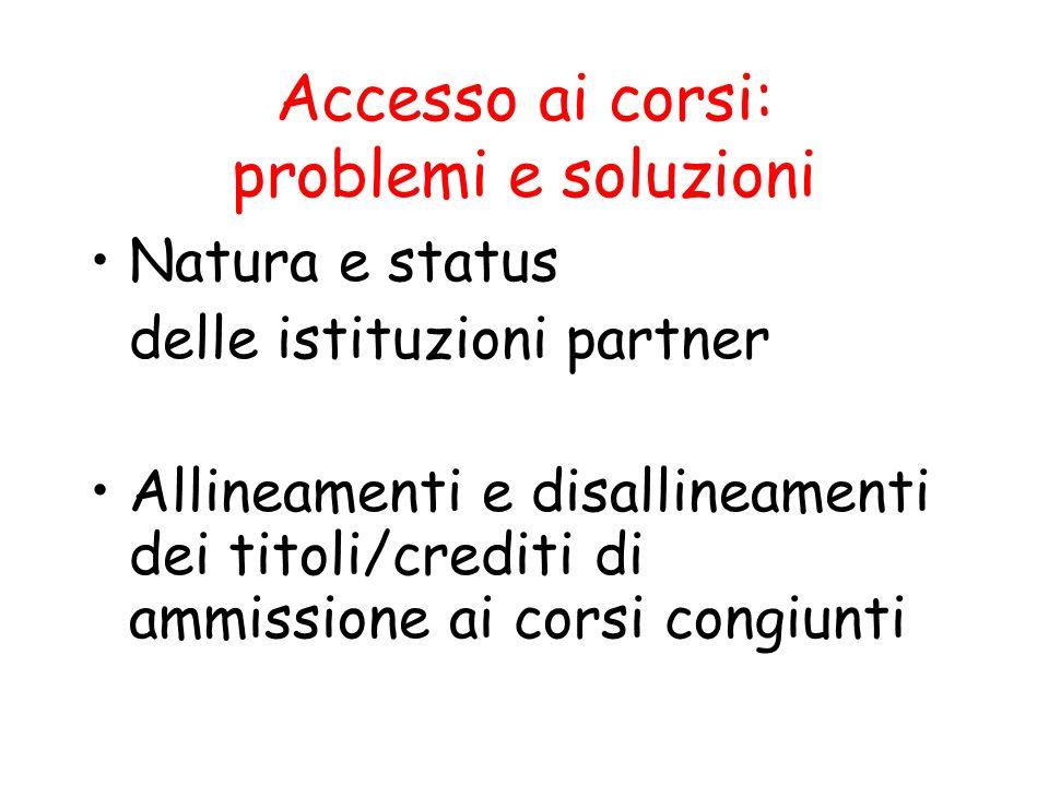 Accesso ai corsi: problemi e soluzioni Natura e status delle istituzioni partner Allineamenti e disallineamenti dei titoli/crediti di ammissione ai co
