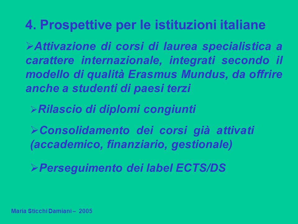 4. Prospettive per le istituzioni italiane Attivazione di corsi di laurea specialistica a carattere internazionale, integrati secondo il modello di qu