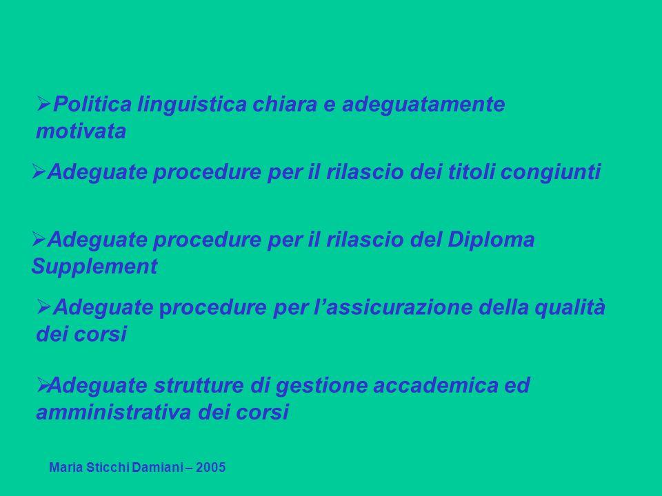Adeguate procedure per il rilascio del Diploma Supplement Maria Sticchi Damiani – 2005 Adeguate procedure per il rilascio dei titoli congiunti Adeguat