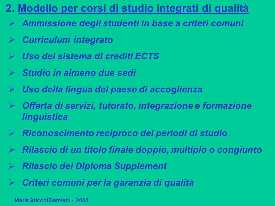 2. Modello per corsi di studio integrati di qualità Maria Sticchi Damiani - 2005 Ammissione degli studenti in base a criteri comuni Curriculum integra