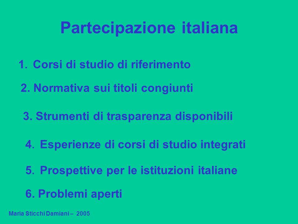 Partecipazione italiana Maria Sticchi Damiani – 2005 1. Corsi di studio di riferimento 2. Normativa sui titoli congiunti 4. Esperienze di corsi di stu