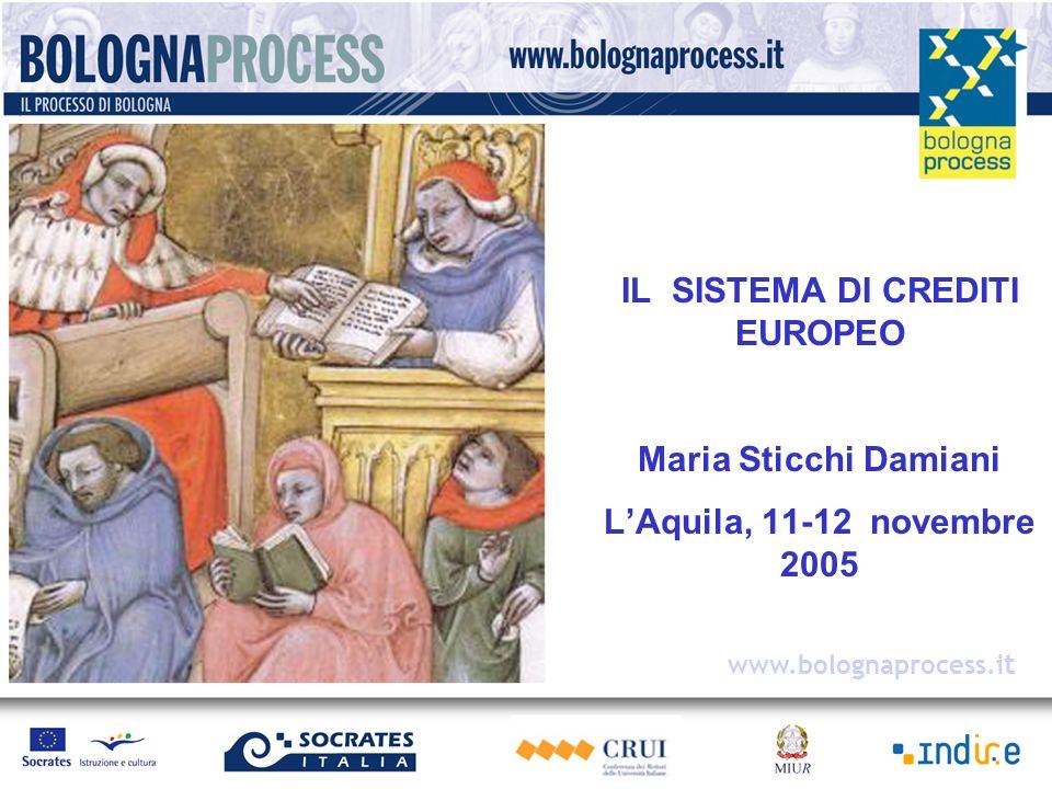 Maria Sticchi Damiani - 2005 Obiettivo della dichiarazione di Bologna: Adozione di un sistema di crediti formativi sul modello dellECTS …..