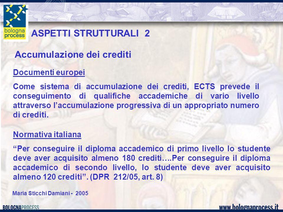 Maria Sticchi Damiani - 2005 Documenti europei Il credito ECTS è basato sul volume di lavoro richiesto ad uno studente per raggiungere gli obiettivi formativi di un corso di studio, obiettivi preferibilmente espressi come risultati di apprendimento attesi e competenze da acquisire.