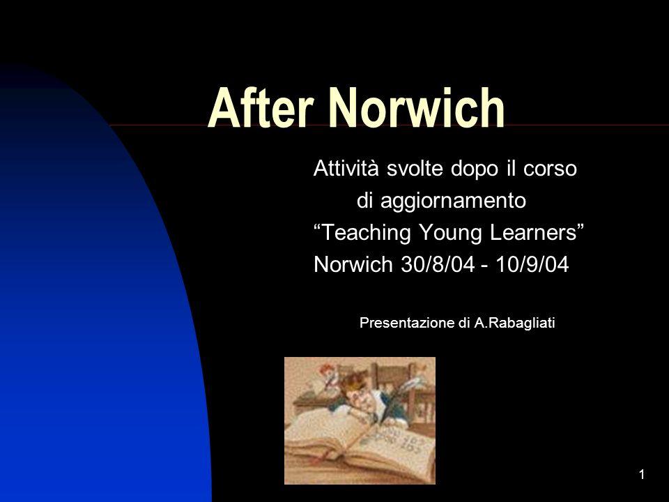 1 After Norwich Attività svolte dopo il corso di aggiornamento Teaching Young Learners Norwich 30/8/04 - 10/9/04 Presentazione di A.Rabagliati