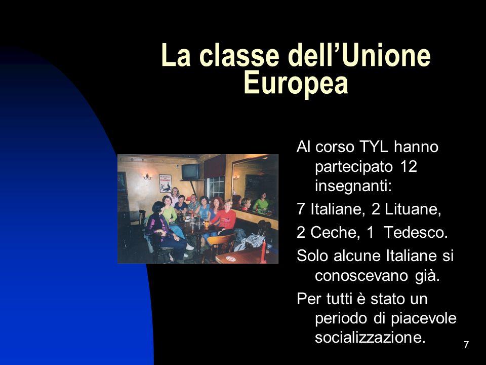 7 La classe dellUnione Europea Al corso TYL hanno partecipato 12 insegnanti: 7 Italiane, 2 Lituane, 2 Ceche, 1 Tedesco. Solo alcune Italiane si conosc