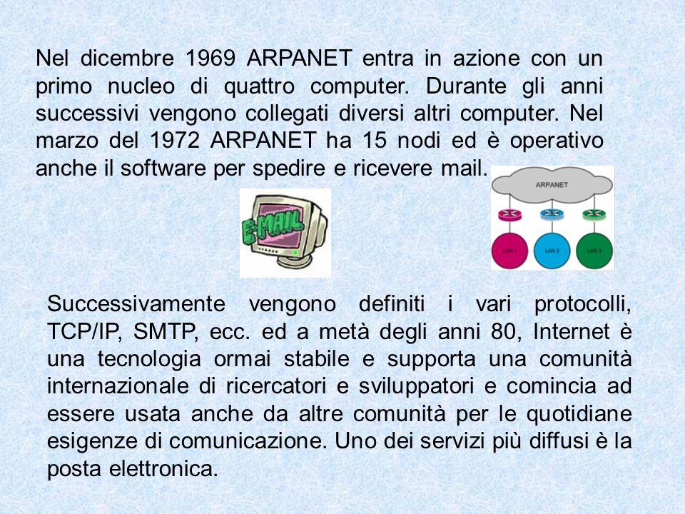 Nel dicembre 1969 ARPANET entra in azione con un primo nucleo di quattro computer. Durante gli anni successivi vengono collegati diversi altri compute