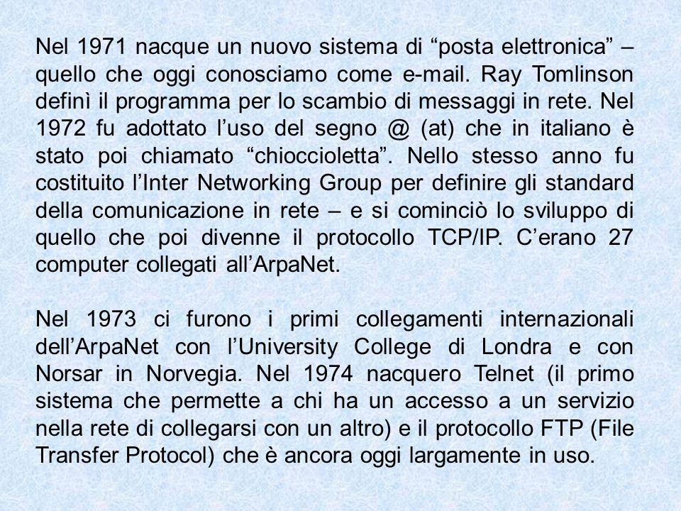 Nel 1971 nacque un nuovo sistema di posta elettronica – quello che oggi conosciamo come e-mail. Ray Tomlinson definì il programma per lo scambio di me