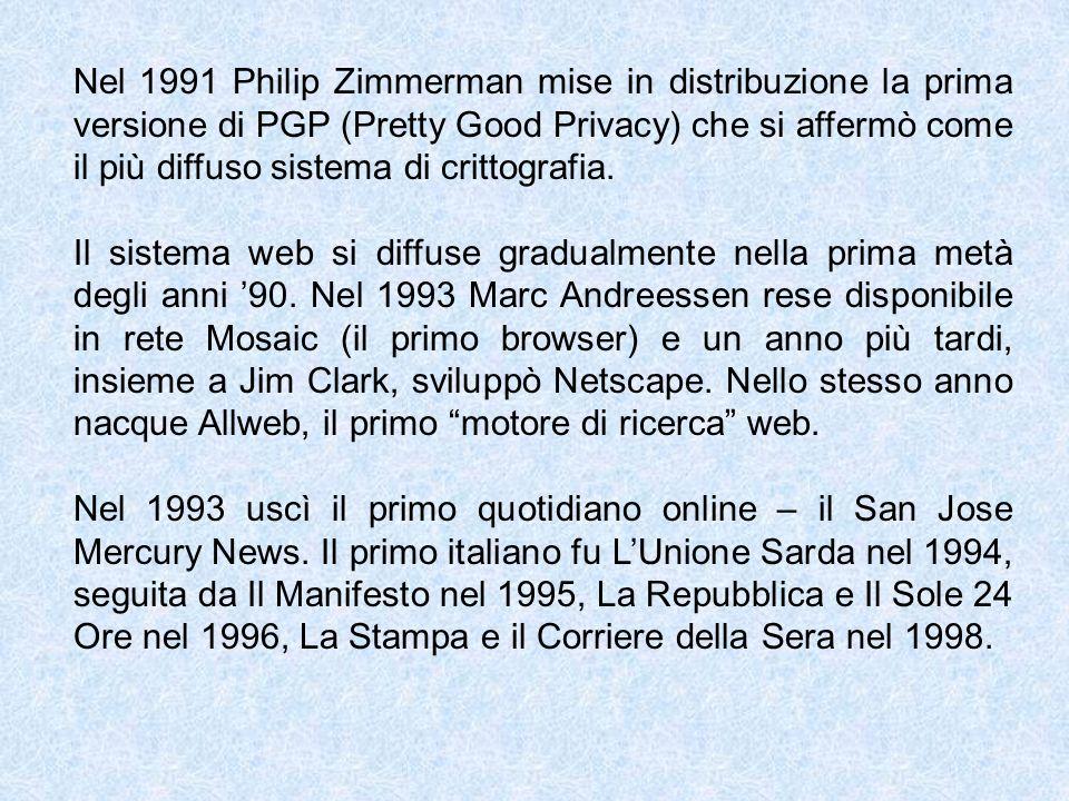 Nel 1991 Philip Zimmerman mise in distribuzione la prima versione di PGP (Pretty Good Privacy) che si affermò come il più diffuso sistema di crittogra