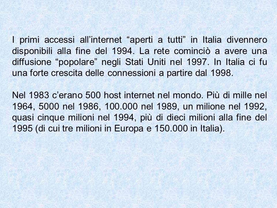 I primi accessi allinternet aperti a tutti in Italia divennero disponibili alla fine del 1994. La rete cominciò a avere una diffusione popolare negli