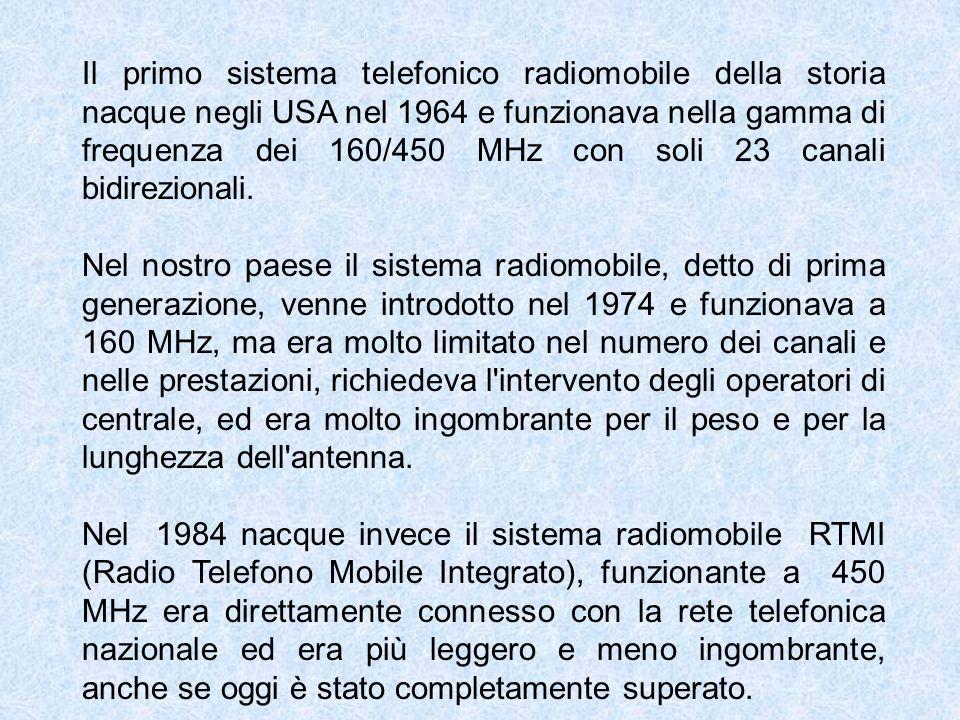 Il primo sistema telefonico radiomobile della storia nacque negli USA nel 1964 e funzionava nella gamma di frequenza dei 160/450 MHz con soli 23 canal