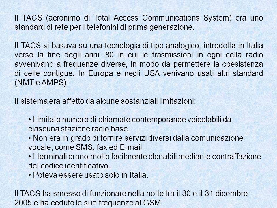 Il TACS (acronimo di Total Access Communications System) era uno standard di rete per i telefonini di prima generazione. Il TACS si basava su una tecn
