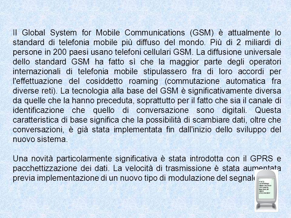 Il Global System for Mobile Communications (GSM) è attualmente lo standard di telefonia mobile più diffuso del mondo. Più di 2 miliardi di persone in