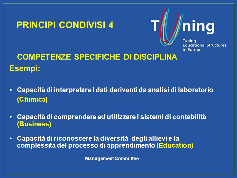 Management Committee COMPETENZE SPECIFICHE DI DISCIPLINA Esempi: Capacità di interpretare I dati derivanti da analisi di laboratorio (Chimica) Capacit