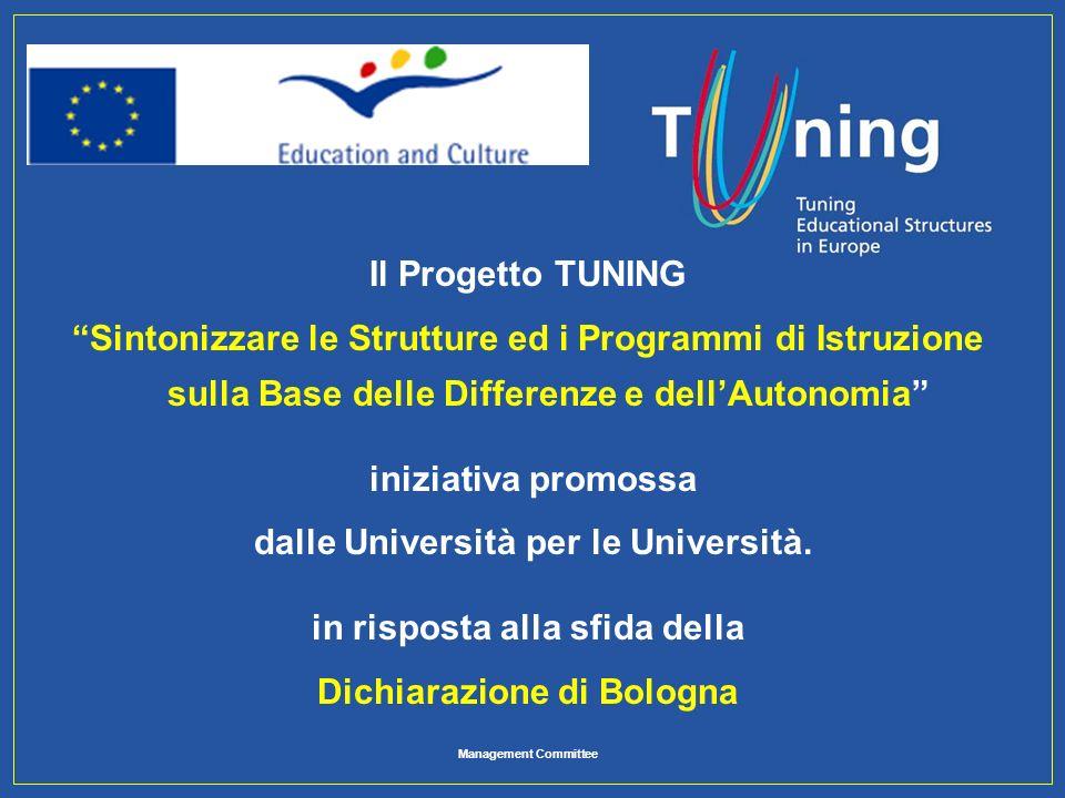 Management Committee Il Progetto TUNING Sintonizzare le Strutture ed i Programmi di Istruzione sulla Base delle Differenze e dellAutonomia iniziativa