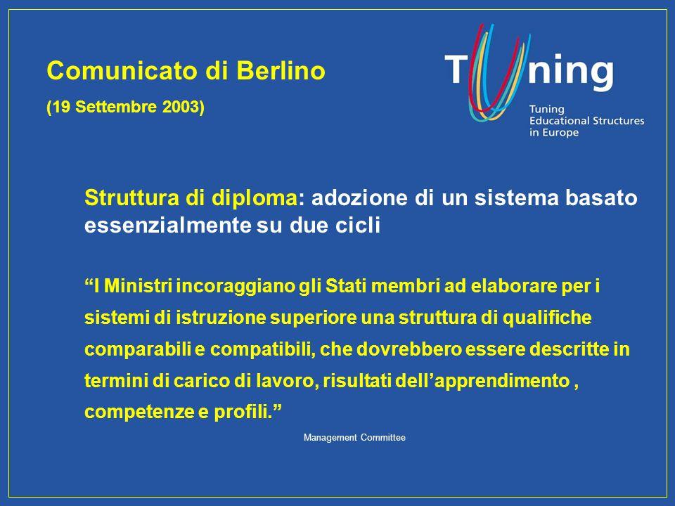 Struttura di diploma: adozione di un sistema basato essenzialmente su due cicli I Ministri incoraggiano gli Stati membri ad elaborare per i sistemi di