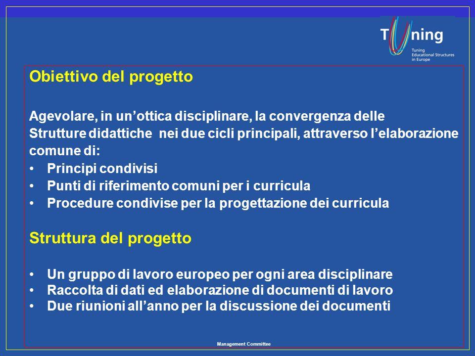 Management Committee Obiettivo del progetto Agevolare, in unottica disciplinare, la convergenza delle Strutture didattiche nei due cicli principali, a