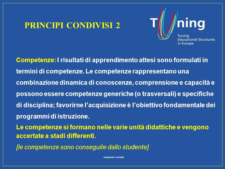 Management Committee Competenze: I risultati di apprendimento attesi sono formulati in termini di competenze. Le competenze rappresentano una combinaz