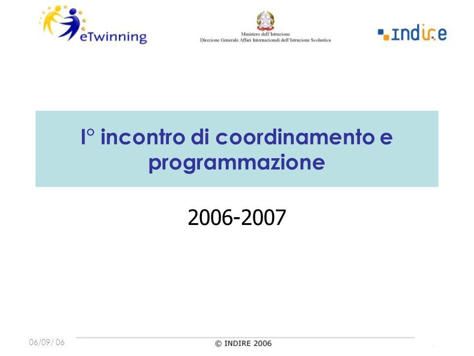 06/09/ 06 I° incontro di coordinamento e programmazione 2006-2007