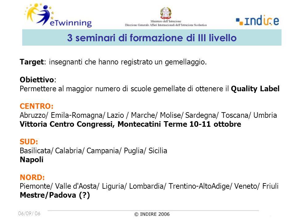06/09/ 06 Target: insegnanti che hanno registrato un gemellaggio.