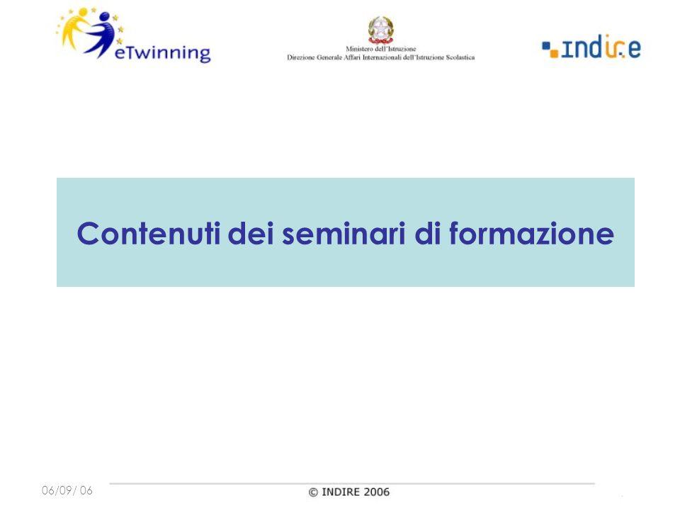 06/09/ 06 Contenuti dei seminari di formazione