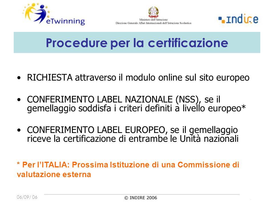 06/09/ 06 Procedure per la certificazione RICHIESTA attraverso il modulo online sul sito europeo CONFERIMENTO LABEL NAZIONALE (NSS), se il gemellaggio soddisfa i criteri definiti a livello europeo* CONFERIMENTO LABEL EUROPEO, se il gemellaggio riceve la certificazione di entrambe le Unità nazionali * Per lITALIA: Prossima Istituzione di una Commissione di valutazione esterna