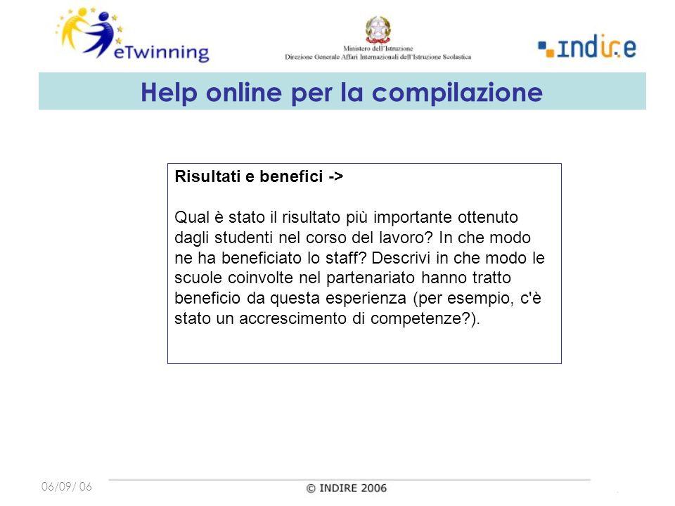 06/09/ 06 Risultati e benefici -> Qual è stato il risultato più importante ottenuto dagli studenti nel corso del lavoro.
