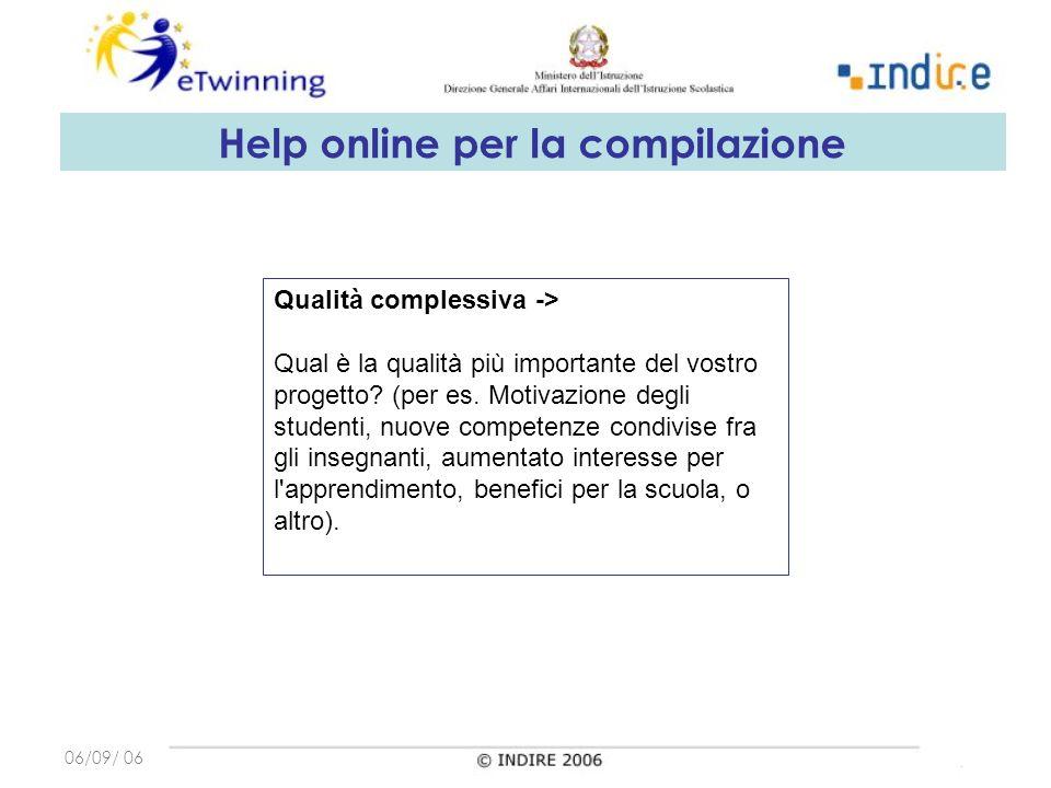 06/09/ 06 Qualità complessiva -> Qual è la qualità più importante del vostro progetto.