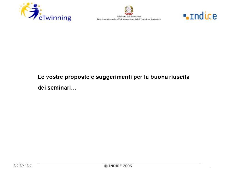 06/09/ 06 Le vostre proposte e suggerimenti per la buona riuscita dei seminari…