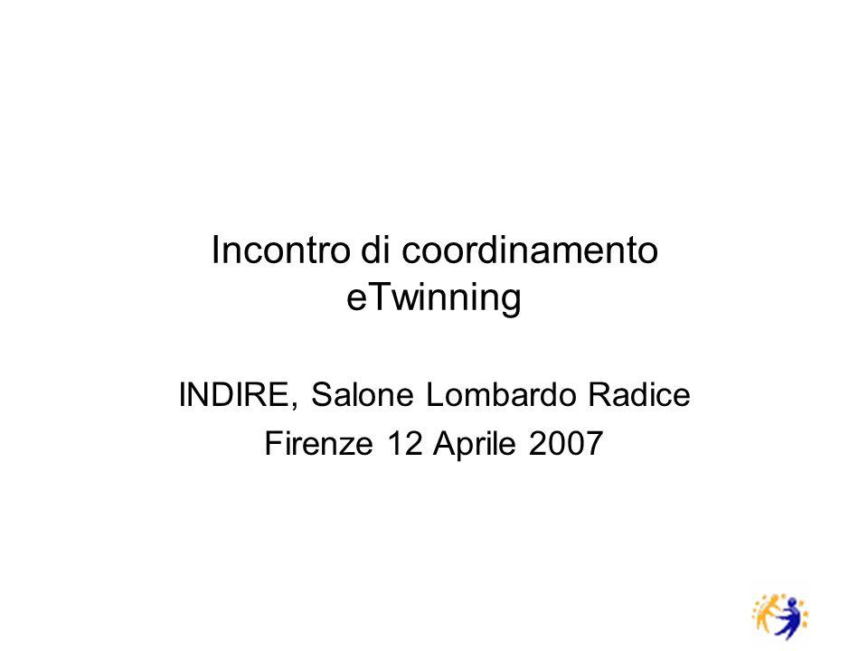 Incontro di coordinamento eTwinning INDIRE, Salone Lombardo Radice Firenze 12 Aprile 2007